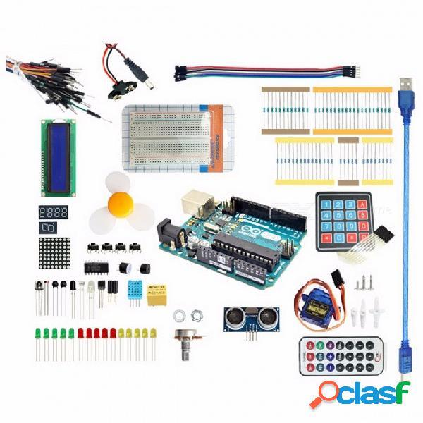 Arduino starter kit para arduino uno r3 - servidor 9g / sensor arduino / 1602 lcd / puente cable / uno r3 / resistor green