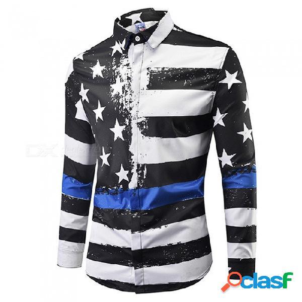 Cxcy807008 # moda camisas de manga larga con estampado de estrellas y rayas en 3d en blanco y negro, camisa casual de talla grande para hombre