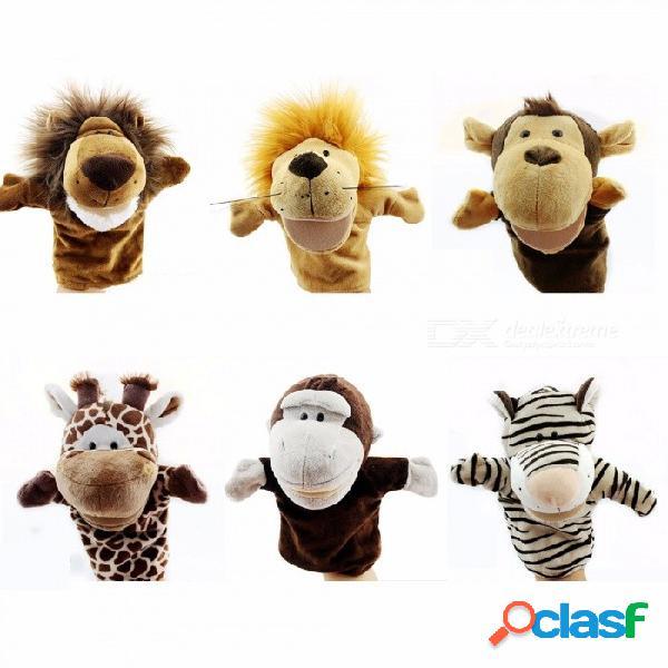 Dibujos animados animales marionetas de mano juguetes clásicos kawaii niños marionetas de mano novedad perro lindo jirafa mono león muppet niños blanco / 11cm-30cm