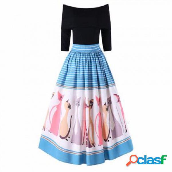 Europa y américa vestido nuevo vestido de cuello slash patchwork una línea de vestidos para mujeres negro / s