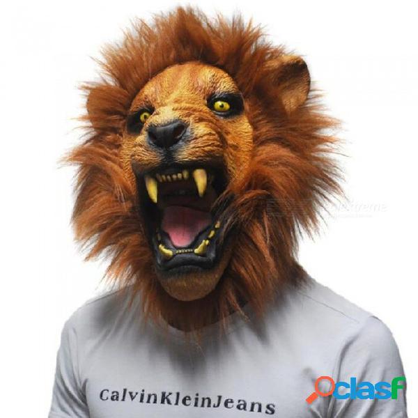 Máscara de látex realista horror de halloween máscara de miedo cara llena feroz enojado cabeza de león animal partido de la mascarada máscara de silicio amarillo