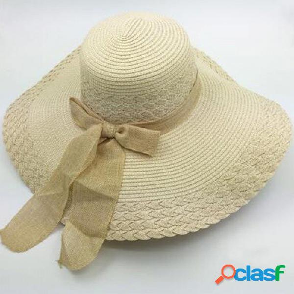 Sombrero de paja elegante del borde del verano del estilo elegante, sombrero del sol de la manera de las muchachas de las mujeres adultas, protección ultravioleta del arco grande sombrero de
