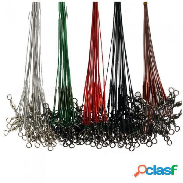 10 unids 12 cm acero inoxidable señuelo de la pesca alambre recubierto líder rastro pike artes de pesca alambre delantero plata