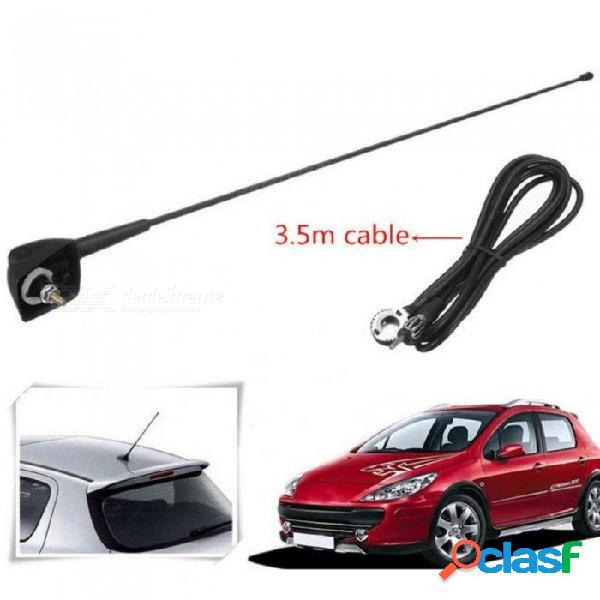 Auto auto techo antena de radio fm / am señal booster amplificador antenas azote mástil para peugeot 106 205 206 306 307 309 405 406 806 807 negro