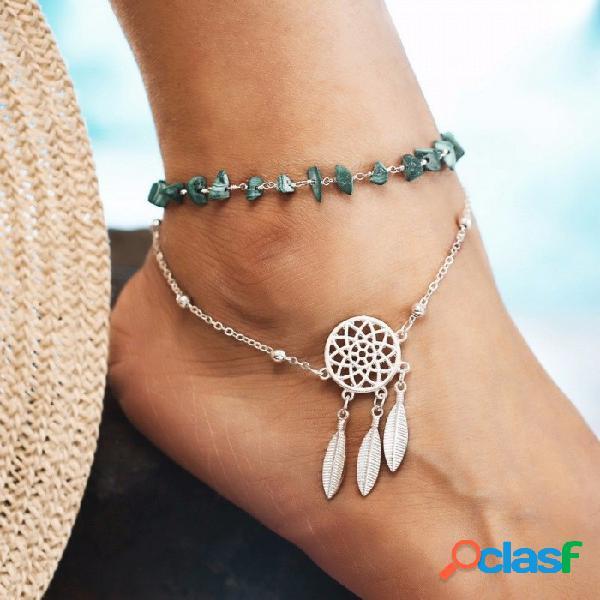Beach turquesa tobillo para mujer colgante de plumas de doble capa pulseras de cadena de playa pulsera de plata de color plata pulsera