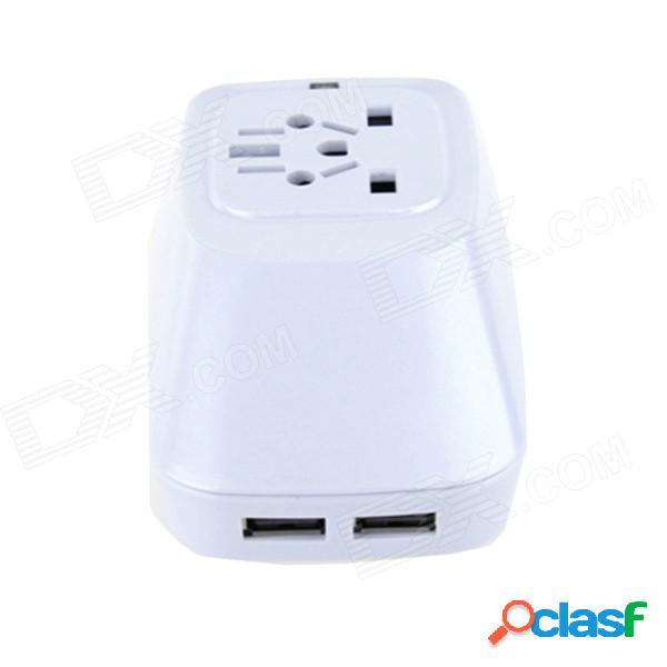 Car-forma de usb la energía del recorrido del convertidor del adaptador para el teléfono móvil - blanco