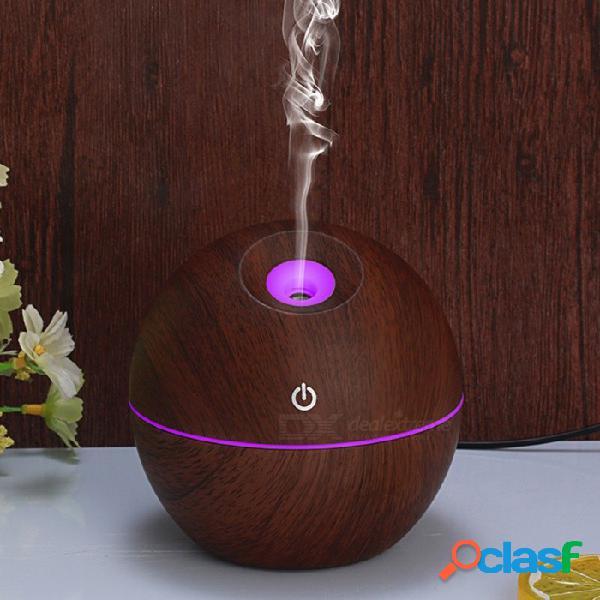 Humidificador de aromaterapia de grano de madera, purificador de aire con luces led de colores - madera oscura