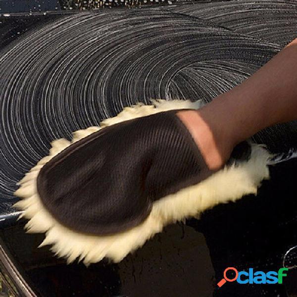 Lana suave lavado de coches guantes de limpieza motocicleta del coche cepillo de lavado para el cuidado de automóviles herramienta de limpieza de un tamaño / marrón