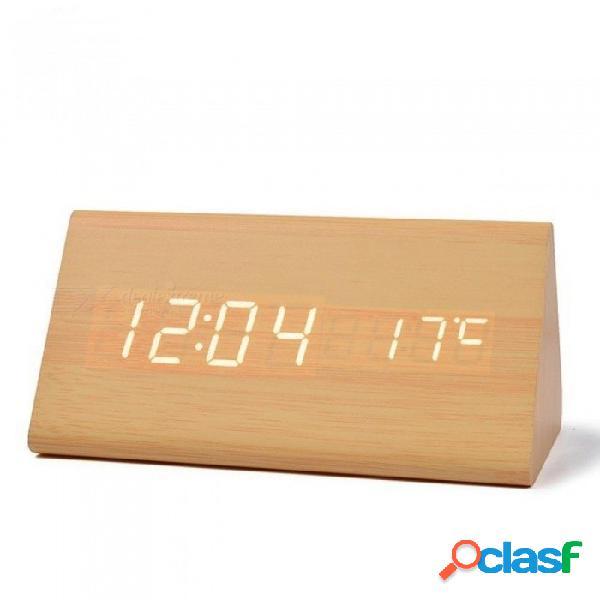 Madera led escritorio y mesa relojes con termómetro, despertador de madera para regalo, sonidos control digital reloj blanco