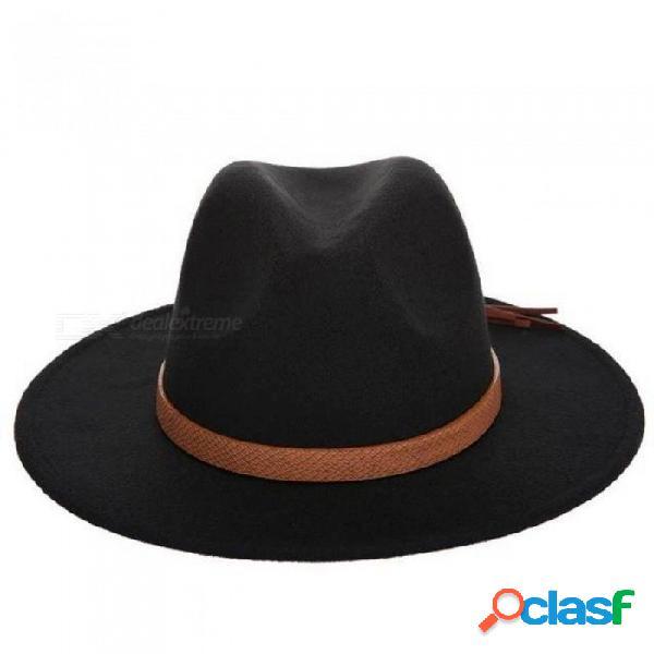 Otoño, invierno, sombrero para el sol, mujeres, hombres, sombrero de fieltro, clásico, ala ancha, fieltro, disquete, gorro, capeau, imitación, gorra de lana