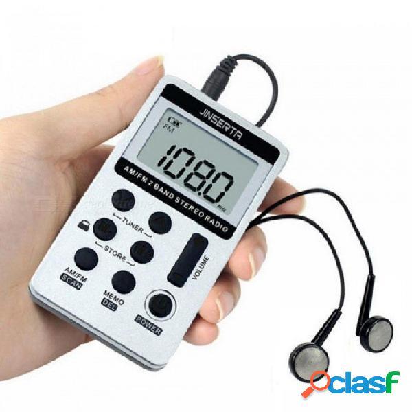 Radio portátil fm am mini receptor digital portátil con batería recargable y grabadora de radio para auriculares + cordón negro