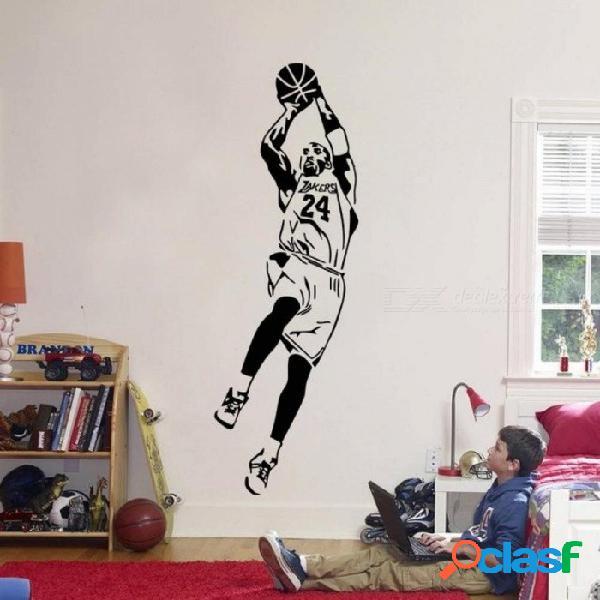 Bryant kobe etiqueta de la pared de vinilo diy decoración para el hogar jugadores de baloncesto tatuajes de pared estrella del deporte para niños sala de estar s 28 cm x 84 cm / negro