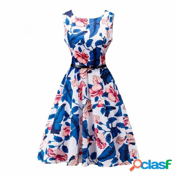 Estampado floral mujer vestido de verano estilo hepburn vestido vintage swing una línea de vestidos de fiesta multicolor