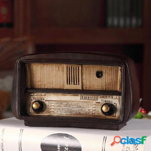 Europa estilo resina modelo de radio retro nostálgico ornamentos vintage radio artesanía bar decoración del hogar accesorios regalo antigüedad imitación modelo de radio