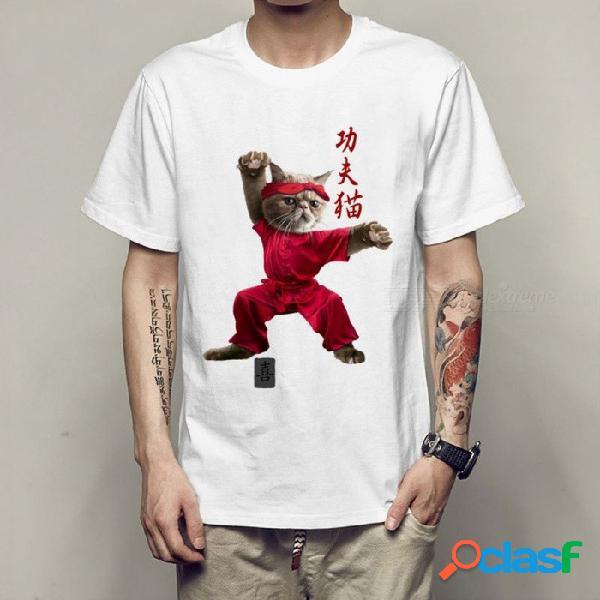 Kung fu gato para hombre imprimir camiseta camisetas divertidas hombres camisetas camisetas adolescentes camisetas tops verano camiseta o-cuello casual blanco / s
