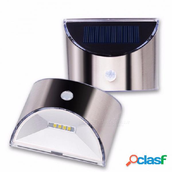 Luz solar led exterior pir sensor de movimiento impermeable a la luz de la pared carcasa de acero inoxidable iluminación para uso doméstico en el jardín de plata