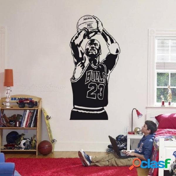 Michael jordan etiqueta de la pared de vinilo diy decoración para el hogar jugador de baloncesto tatuajes estrella del deporte para niños habitación negro s 28 cm x 58 cm / negro