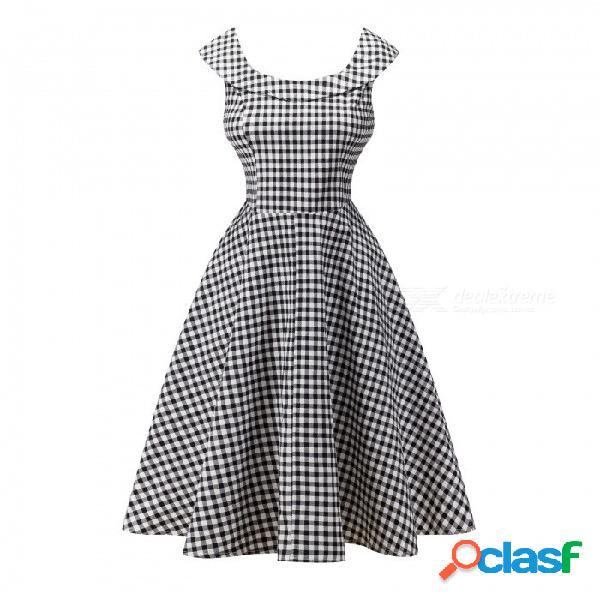 Nuevas tallas grandes ropa de mujer de verano vestido floral audrey hepburn estilo vintage fuera del hombro vestidos negro / m