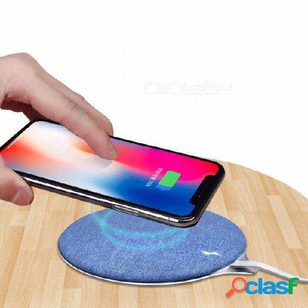 Tela elegante + metal cargador inalámbrico qi de carga rápida teléfonos inteligentes que cargan la almohadilla azul
