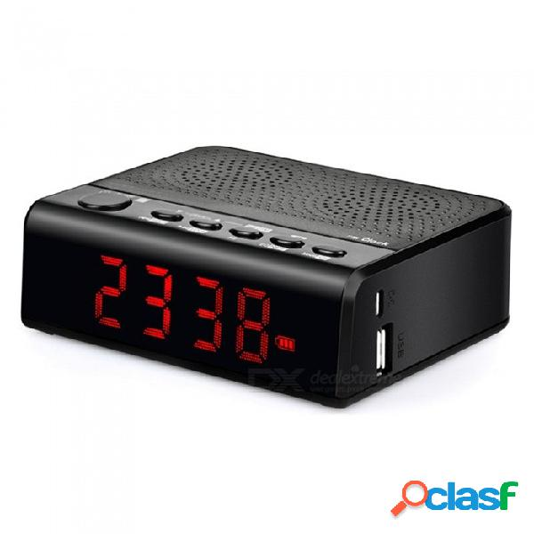 Toproad de escritorio altavoz bluetooth estéreo inalámbrico portátil reloj de alarma altavoces gama completa subwoofer negro / altavoz
