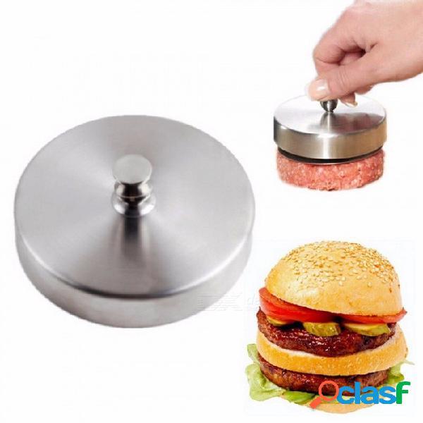 Acero inoxidable 9.5 cm redondo en forma de hamburguesa prensa carne de cerdo carne empanada hamburguesa haciendo molde herramientas de cocina empanadas fabricante gris claro