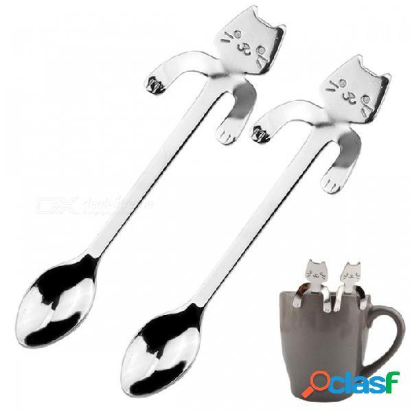 Café de acero inoxidable & cuchara de té mini gato mango largo cuchara creativa herramientas para beber utensilios de cocina cubiertos vajilla 2 unids 2 unids
