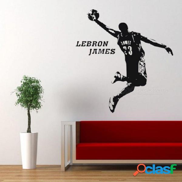Estrella lebron james pvc papel adhesivo adhesivo deporte baloncesto pared palo un dormitorio una sala de estar decorada con pegatinas de 100x94xm / negro