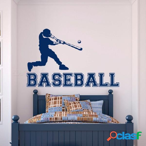 Jugador de béisbol etiqueta de la pared gimnasio deportes pegatinas de vinilo de pared para niños dormitorio adolescentes habitación de los niños arte de la pared de la universidad decoración