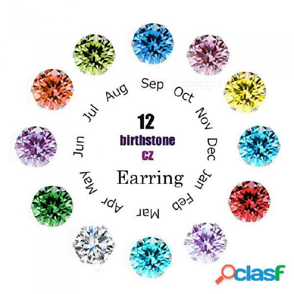 Plata esterlina 12 colores opciones birthstone zircon cúbico piercing stud pendientes regalo festivo para mujeres niñas multicolor