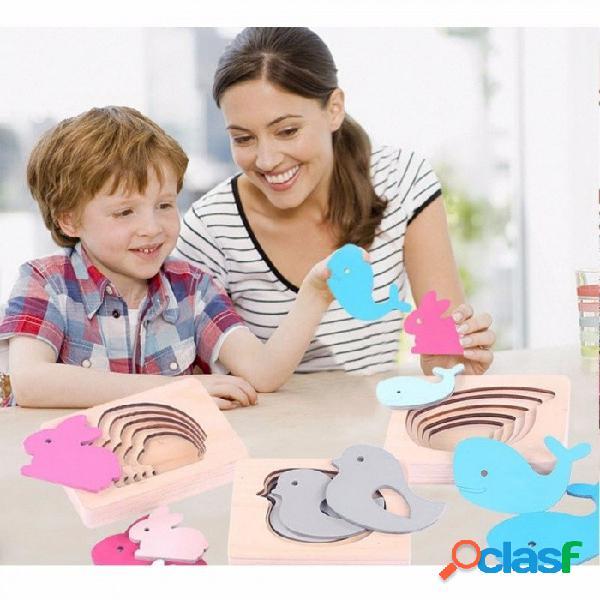 Bebé juguete para niños montessori 3d rompecabezas animal niños madera para la educación preescolar educación preescolar aprendiendo juguetes rosa