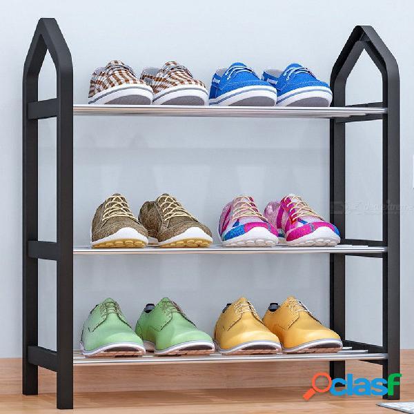 Combinación mágica de tres capas de soporte para zapatos organizador plegable creativo organizador de zapatos ajustable
