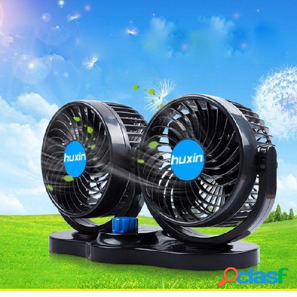 Hx-t303-i 12v 4 pulgadas ventilador de coche de doble cabeza portátil 2-modo vehículo vehículo furgoneta ventilador de aire ventilador de enfriamiento más fresco ventilador