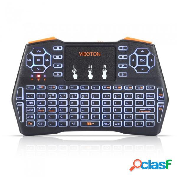 I8 más retroiluminación de mano mini teclado táctil inalámbrico para tv box gaming air mouse control remoto negro