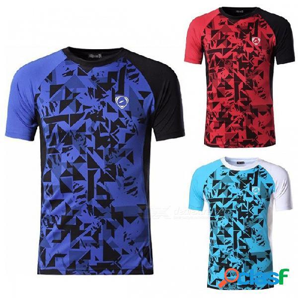 Lsl193 camiseta casual de manga corta con cuello redondo de manga corta para hombres que practican ciclismo deportivo azul / m
