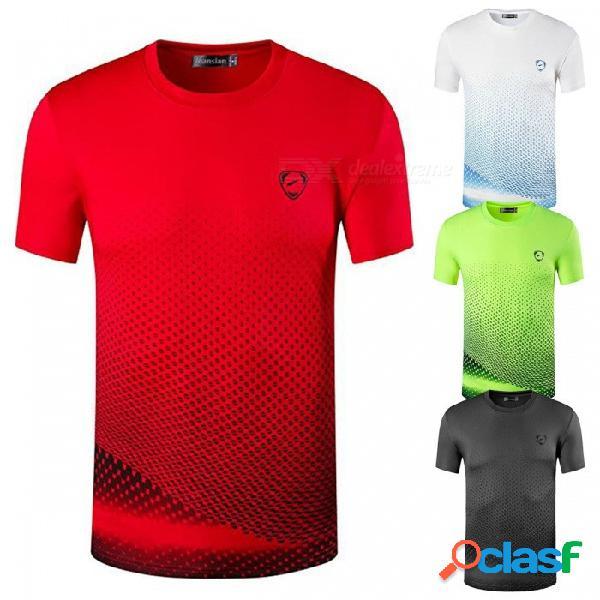 Lsl225 casual elástico de secado rápido de manga corta cuello redondo camiseta de los hombres camiseta para ciclismo correr deportes gris oscuro / m