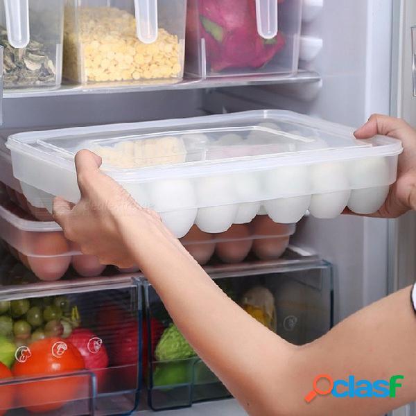 Organizador refrigerador albóndigas de alimentos huevos hermético caja de almacenamiento contenedor plástico cajas claras / 1-tier