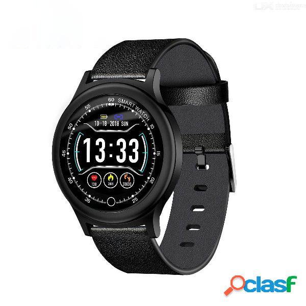 Reloj deportivo con podómetro inteligente con pulsera de cuero y brazalete deportivo con correa de cuero para ios de android