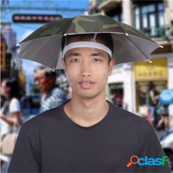 Sombrero plegable al aire libre del paraguas de sol sombrero del sombrero de la cabeza de la gorra del casquillo de la pesca del golf camuflaje con el verde l / camuflaje del ejército