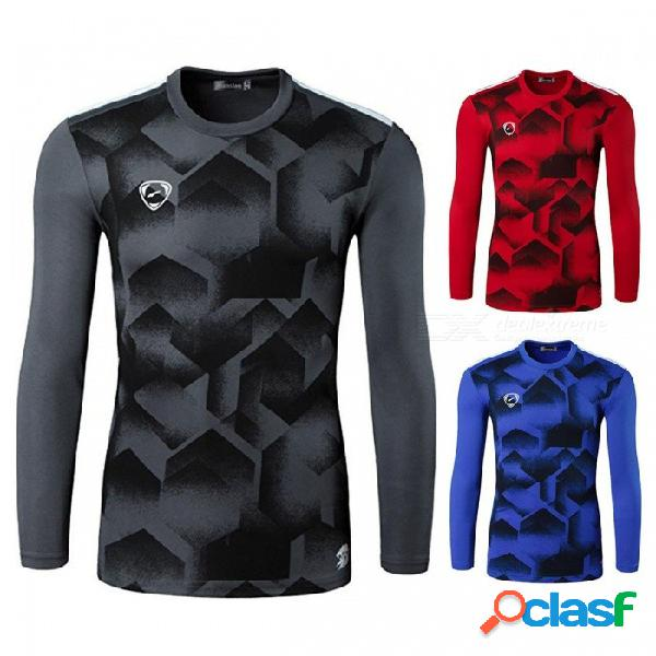 Camiseta informal de manga larga con cuello redondo para hombres, camiseta de manga larga, camiseta de manga corta para ciclismo deportivo azul / m