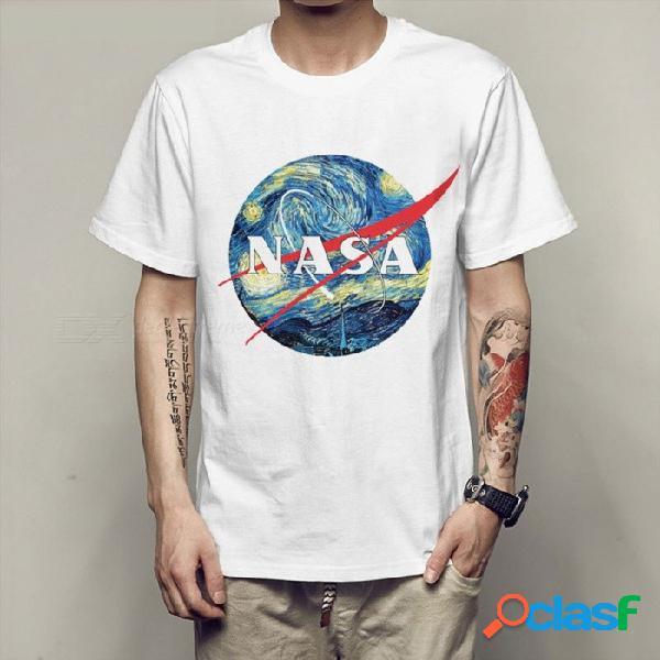 Ropa de moda camiseta de la vía láctea sistema solar estrellas galaxy print verano estilo tee tops camiseta para mujeres / hombres blanco / xxxl