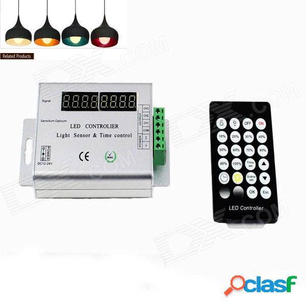 Sensor de luz kinfire t12 144w / controlador de control de tiempo led - blanco plateado + negro (dc12 ~ 24v)