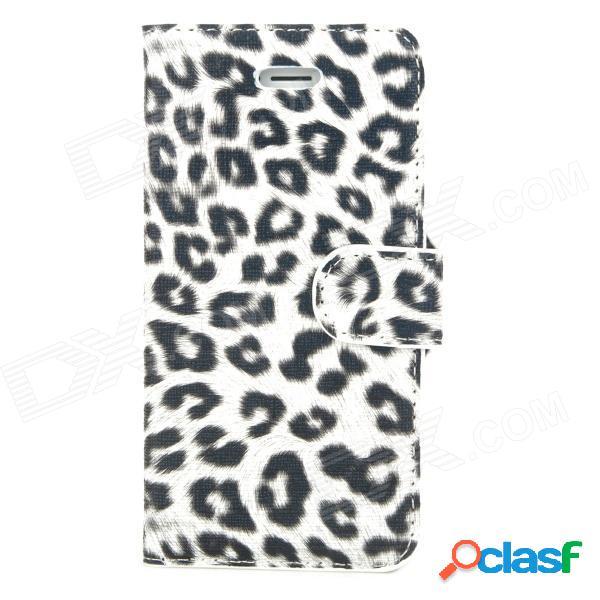 Elegante estuche protector de piel de leopardo con diseño de leopardo para el iphone 5 - blanco + negro