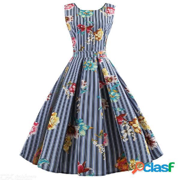 Estampado floral con rayas vestido vintage sin mangas de una línea de vestidos de fiesta para las mujeres