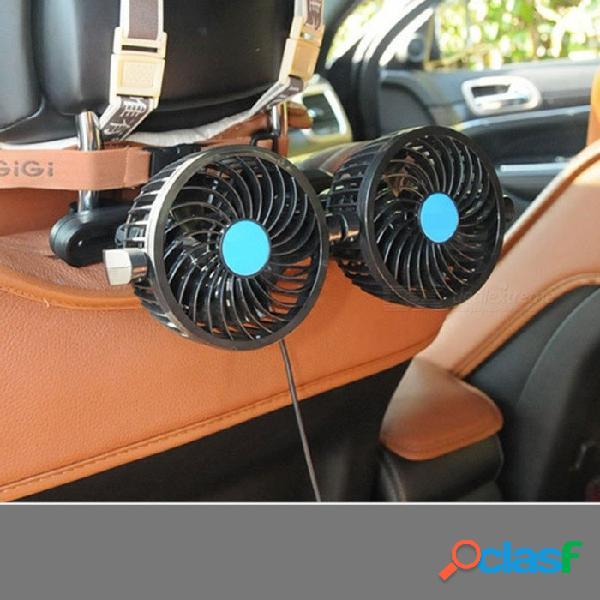 Hx-t205 12 v 4 pulgadas de doble cabeza del asiento de coche ventilador de la espalda del coche portátil del ventilador del ventilador del ventilador del ventilador de aire del coche
