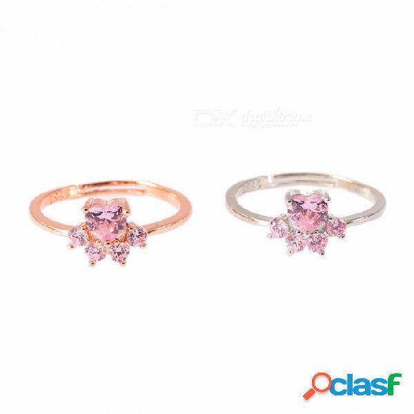 Lindo anillo cúbico claro rosa oro cachorro huellas de cristal anillos de compromiso joyería de la boda para las mujeres niñas bijoux oro