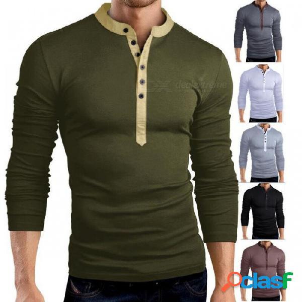 Moda color sólido con varios botones grandes cuello en v hombres delgados camiseta de manga larga, camiseta casual para hombre camiseta top negra / m