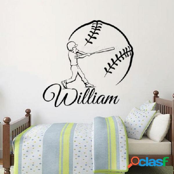 Nombre personalizado béisbol deportes etiqueta de la pared nombre personalizado pegatinas de pared para niños niños habitaciones de bebé vinilo calcomanía decoración del hogar 57 cm de altura