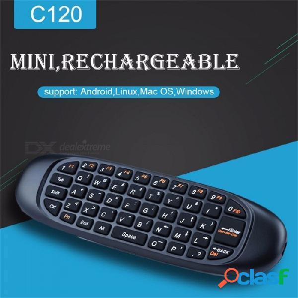 C120 mini air mouse teclado de control remoto inalámbrico recargable tv caja de ordenador ruso inglés árabe español francés negro