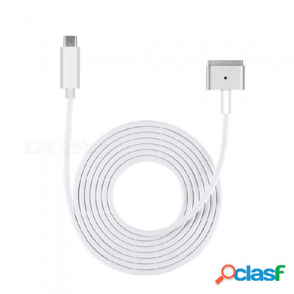 Cable de conversión cwxuan usb c 2 (t-tip) / cable adaptador de corriente tipo c 2012 a 2017 macbook pro / macbook air - (180cm)