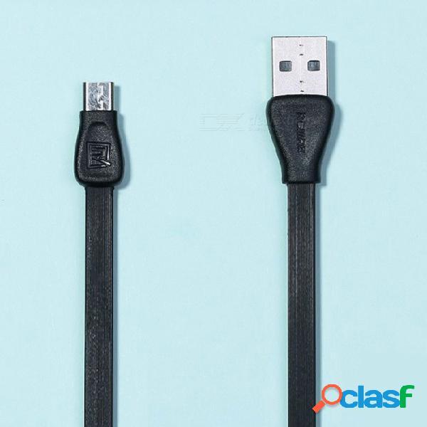 Cable de datos micro usb colorido de remax martin, cable de transferencia de datos de sincronización plana de carga de pvc para xiaomi / sony / samsung / htc 1 m / negro